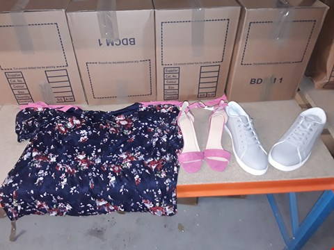 Lot 9377 4 BOXES OF APPROXIMATELY 71 ASSORTED CLOTHING AND FOOTWEAR ITEMS INCLUDING PINK SANDALS, GREY TRAINERS AND PRINTED LACE COLD SHOULDER DRESS