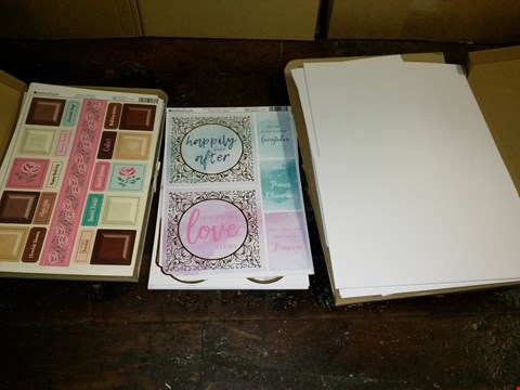 Lot 632A BOX OF APPROXIMATELY 15 CRAFT ITEMS TO INCLUDE ASSORTMENT OF WHITE CARD, BESTSELLING BOOKS CRAFT TOPPER AND MAMA'S KITCHEN CRAFT TOPPER