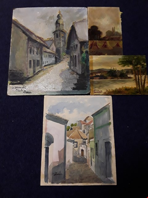 Lot 60 LOT OF 4 ASSORTED ART WORKS INCUDING OIL ON BOARD, WATERCOLOUR ETC