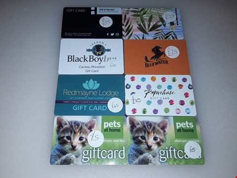 Lot 7 8 ASSORTED GIFT CARDS, INCLUDING PETS AT HOME, BLUEWATER, PAPERCHASE, OLIVER BONAS, REDMAYNE LODGE AND BLACK BOY INN.  TOTAL VALUE £140