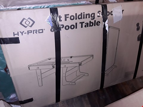 Lot 8592 BOXED HY-PRO 6FT FOLDING SNOOKER AND POOL TABLE (1 BOX) RRP £250.00