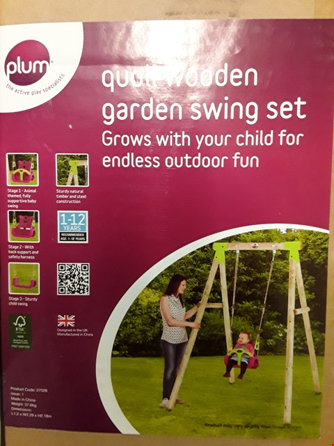 Lot 65 BOXED PLUM 3 IN 1 QUOLL GARDEN SWING ( NO FRAME, FITTINGS ONLY)