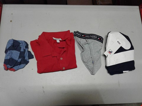 Lot 830 LOT OF 4 ASSORTED DESIGNER CLOTHING ITEMS TO INCLUDE A RED LACOSTE SPORTS POLO, FILA BLACK LINE KALANI GRAPIC T-SHIRT, TOMMY HILFIGER BRAZILIAN BRIEFS ETC RRP £157