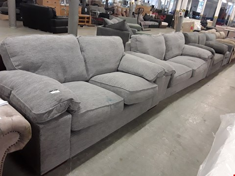 Lot 344 DESIGNER GREY WEAVE FABRIC 2 & 3 SEATER SOFAS