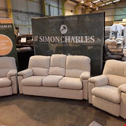 Lot 401 QUALITY BRITISH MADE HARDWOOD FRAMED BEIGE FABRIC THREE PIECE SUITE CONSISTING OF A FIXED FRAME THREE SEATER SOFA AND A PAIR OF FIXED FRAME ARMCHAIRS