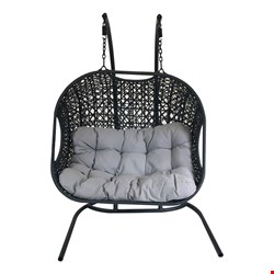 Lot 3028 BOXED DOUBLE SEAT OUTDOOR RATTAN SWING CHAIR - BLACK (1BOX)