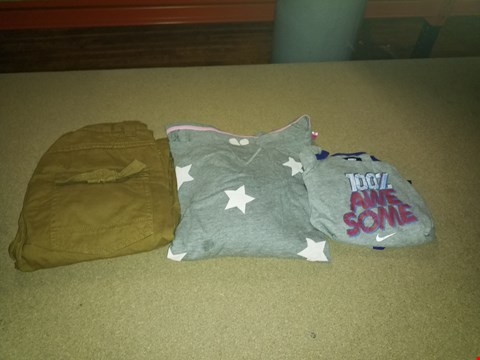 Lot 301 LOT OF APPROXIMATELY 10 ASSORTED DESIGNER CLOTHING ITEMS TO INCLUDE NIKE BABY BOYS 3 PIECE AWESOME SET, BOYS TAN CARGO PANTS AND 2 PACK STAR NIGHTDRESS (BOX NOT INCLUDED)