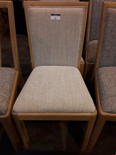 Lot 55 SET OF THREE OAK FRAMED NATURAL FABRIC DINING CHAIRS RRP £900.00