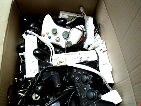 Lot 15666 BOX OF ASSORTED GAMES CONTROLLERS AND CABLES ETC