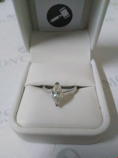Lot 43 18CT WHITE GOLD SOLITAIRE RING SET WITH A MARQUISE CUT DIAMOND WEIGHING +1.50CT RRP £5370.00