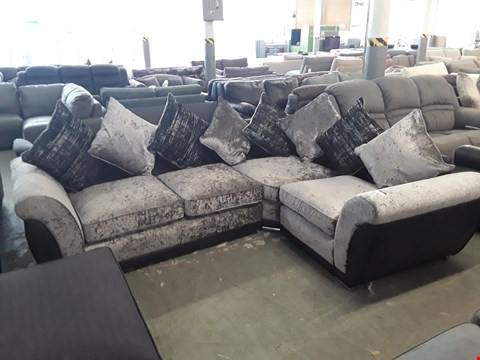 Lot 87 DESIGNER BLACK FAUX LEATHER AND SILVER CRUSHED VELVET CORNER SOFA WITH SCATTER BACK CUSHIONS