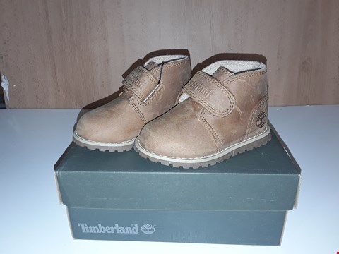 Lot 12729 BOXED TIMBERLAND POKEYPINE LIGHT BROWN LEATHER VELCRO STRAP BOOTS UK SIZE 4 JUNIOR