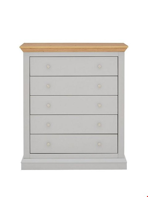Lot 3518 BOXED HANNA GREY/OAK EFFECT 5-DRAWER CHEST (1 BOX)