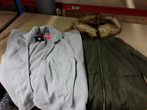 Lot 296 LOT OF APPROXIMATELY 5 ASSORTED DESIGNER COATS TO INCLUDE MISS SELFRIDGE KHAKI MAL PARKA AND LONG LINE STERLING BIKER COAT