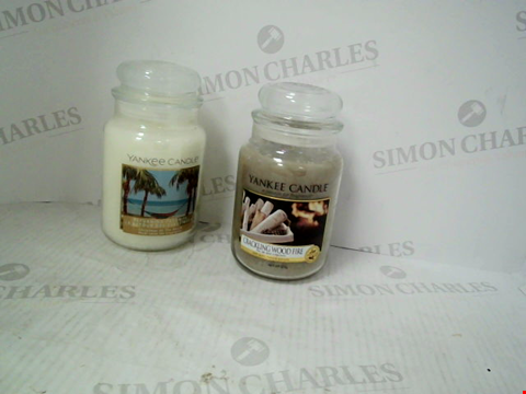 Lot 1346 A LARGE JAR CHRISTMAS AT THE BEACH CANDLE AND A LARGE JAR CRACKLING WOOD FIRE CANDLE