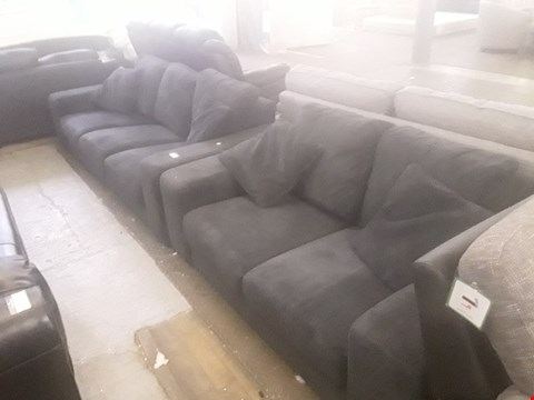 Lot 43 DESIGNER BLACK CORD FABRIC TWO AND THREE SEATER SOFA WITH CUSHIONS