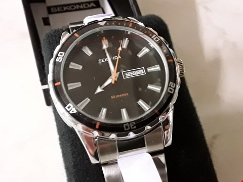 Lot 298 BOXED SEKONDA STYLE BLACK FACED WATCH WITH ORANGE DETAIL