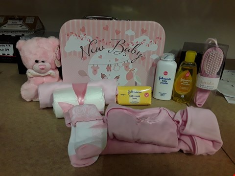 Lot 2059 NEW BABY GIFT BOX CONTAINING JOHNSON'S BABY SOAP HONEY, JOHNSON'S BABY POWDER, JOHNSON'S BABY SHAMPOO AND SOFT TOUCH BABY BRUSH ECT