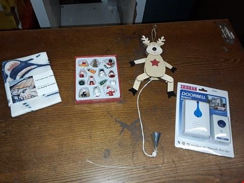 Lot 13 BOX OF ASSORTED ITEMS TO INCLUDE ZHISHAN DOORBELL REMOTE CONTROL, CHRISTMAS DECORATIONS AND COTTON TEA TOWEL ECT (BOX NOT INCLUDED)