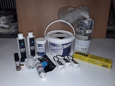 Lot 234 LOT OF ASSORTED LIQUID HOMEWARE ITEMS TO INCLUDE CHEMCLEAN, BLACK GARDEN PAINT, UHU ADHESIVE, ROCK BASE LIQUID CHALK