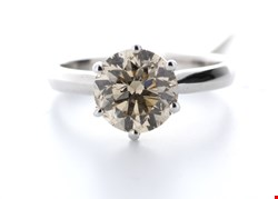 Lot 19 18CT WHITE GOLD SINGLE STONE CLAW SET DIAMOND RING RRP £62995