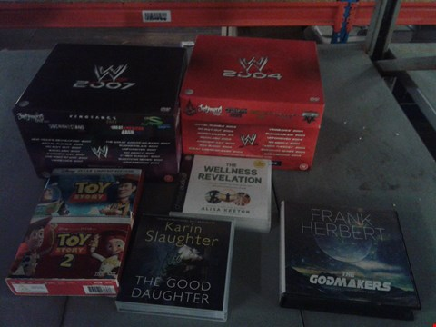 Lot 4402 4 BOXES OF ASSORTED MEDIA ITEMS TO INCLUDE A WWE 2004 DVD COLLECTION, A WWE 2007 DVD COLLECTION