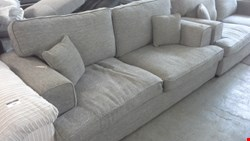 Lot 94 DESIGNER 3 & 3 SEATER SOFASBIN GREY WITH CUSHIONS