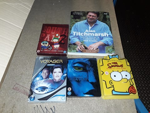 Lot 4104 JOB LOT OF ASSORTED CD/DVD BOXSETS , BOOKS AND GAMES TO INCLUDE ALAN TITCHMARSH,  STAR TREK, AVATAR(4 BOXES)