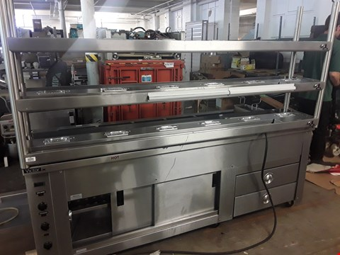 Lot 1076 VICTOR CARIB MOBILE HEATED SERVERY WITH 3 TIER GANTRY & 6 PAN HEATED WELL ON CUPBOARD & DRAWER BASE