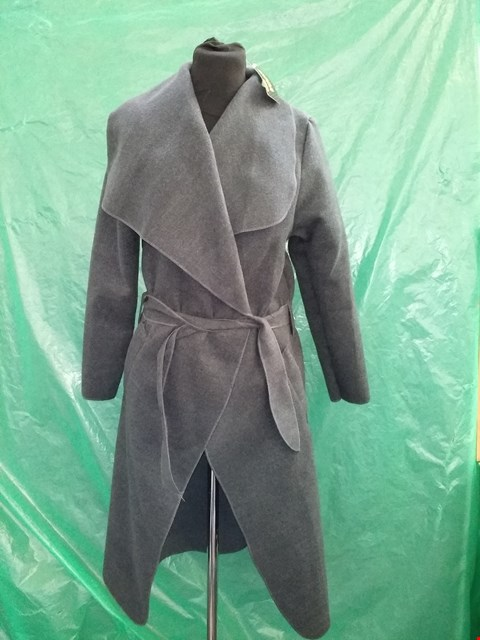 Lot 4103 MODA MADE IN ITALY GREY KATE BELTED SHAWL COLLAR COAT