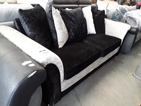 Lot 27 DESIGNER TWO TONE BLACK AND SILVER CRUSHED VELVET 2 SEATER SOFA