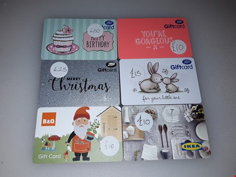 Lot 20 7 ASSORTED VOUCHERS, INCLUDING BOOTS, B&Q, IKEA AND NATIONAL GARDEN.  TOTAL VALUE £110