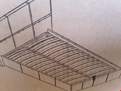"Lot 7033 BOXED 4'6"" DOUBLE END LIFT OTTOMAN STORAGE BED MATT BROWN"