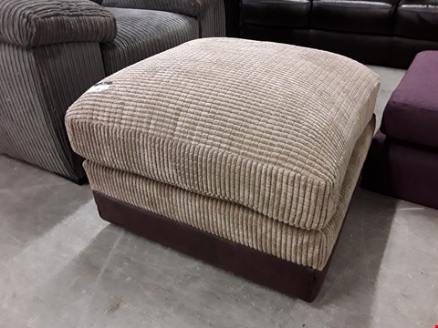 Lot 16 DESIGNER BEIGE FABRIC AND AND BROWN FAUX LEATHER SQUARE FOOTSTOOL