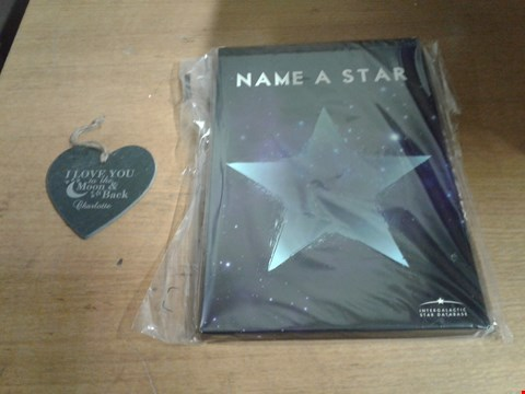 Lot 1312 LOT OF 2 ITEMS TO INCLUDE PERSONALISED TO THE MOON AND DELUXE NAME A STAR
