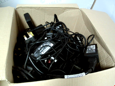 Lot 8294 BOX OF A LARGE NUMBER OF ASSORTED LAPTOP CHARGERS TO INCLUDE HP, TOSHIBA, LENOVO, ETC.