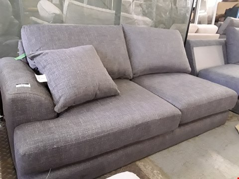 Lot 93 QUALITY DESIGNER BRITISH MADE PARKER DARK GREY FABRIC TWO SEATER SECTION WITH BOLSTER CUSHION