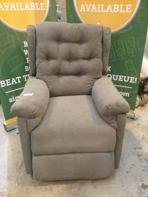Lot 51 DESIGNER GREY FABRIC BUTTON BACK RECLINING ARM CHAIR