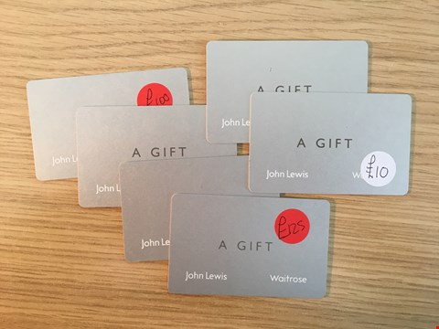 Lot 4 6 JOHN LEWIS GIFT VOUCHERS.  TOTAL VALUE £345