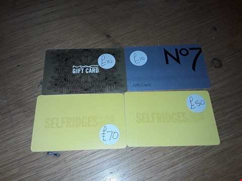 Lot 1 4 ASSORTED GIFT CARDS, INCLUDING SELFRIDGES & CO., NO.7 AND M.A.C..  TOTAL VALUE £140