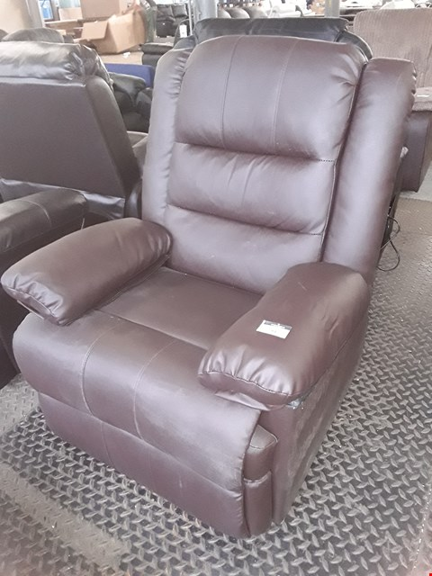 Lot 91 DESIGNER LOXLEY BROWN FAUX LEATHER MANUAL RECLINING EASY CHAIR  RRP £385