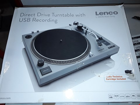 Lot 12753 LENCO L-3808 MATTE GREY TURNTABLE FOR VINYL WITH INTEGRATED STEREO PRE-AMPLIFIER