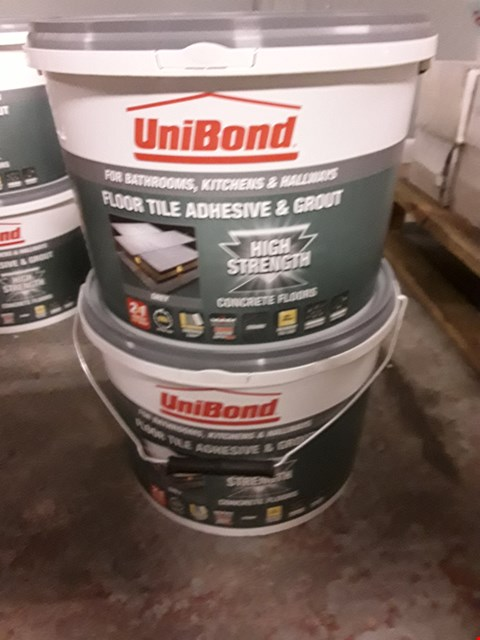 Lot 2 TWO TUBS 14.3kg UNIBOND FLOOR TILE ADHESIVE & GROUT HIGH STRENGTH RRP £72