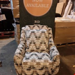 Lot 410 QUALITY BRITISH MADE HARDWOOD FRAMED PATTERNED FABRIC ARMCHAIR ON WOODEN FEET