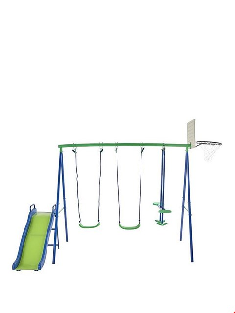Lot 182 BOXED SPORTSPOWER MULTIPLAY WITH SWINGS, GLIDER, SLIDE AND BASKETBALL NET (1 BOX) RRP £209.99