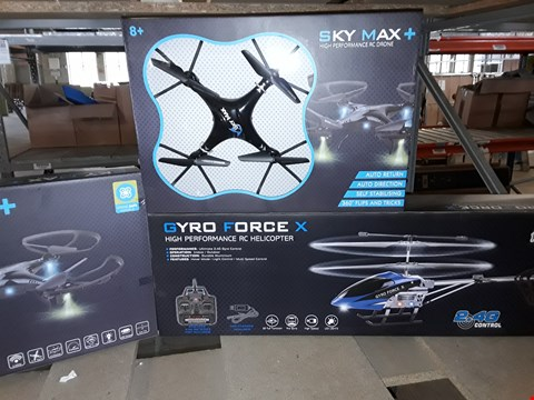 Lot 7598 LOT OF 3 ASSORTED ITEMS TO INCLUDE 2 SKY MAX+ RC DRONES, GYRO FORCE X RC HELICOPTER