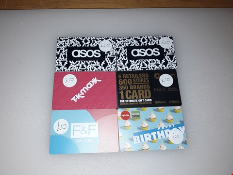 Lot 17 6 ASSORTED CLOTHING STORE GIFT CARDS, INCLUDING ASOS, TK MAXX, F&F AND THE ULTIMATE GIFT CARD.  TOTAL VALUE £115