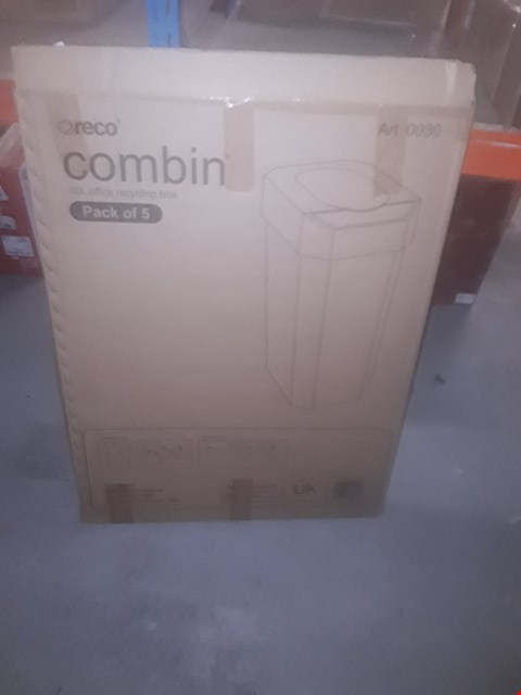 Lot 9086 PACK OF 5 BRAND NEW COMBIN 60 LITRE OFFICE RECYCLING BINS