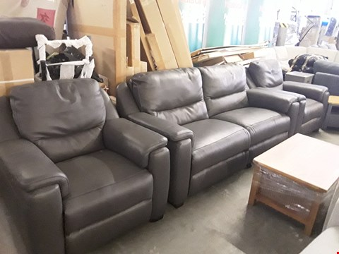 Lot 70 QUALITY ITALIAN DESIGNER ANTHRACITE LEATHER POWER RECLINING 3 SEATER SOFA AND 2 ARMCHAIRS