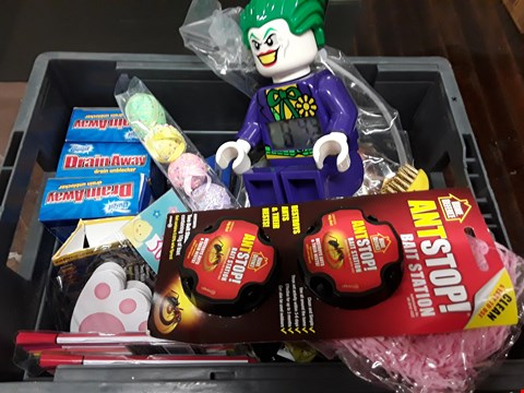 Lot 35 BOX OF ASSORTED ITEMS TO INCLUDE LEGO JOKER CLOCK, DUZZIT DRAIN UNBLOCKER, ANTSTOP BAIT STATION